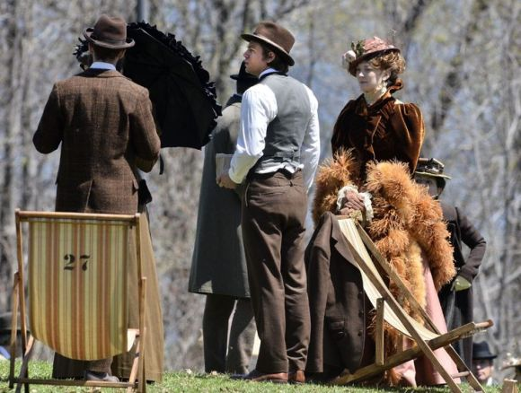 Filming of Crimson Peak at Dundurn Castle Tuesday. Charlie Hunnam, centre, waits to walk into a scene. John Rennison The Hamilton Spectator 5/6/14